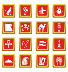 Egypt travel items icons set red vector