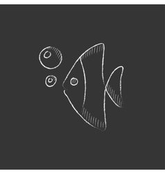 Fish under water Drawn in chalk icon vector image vector image