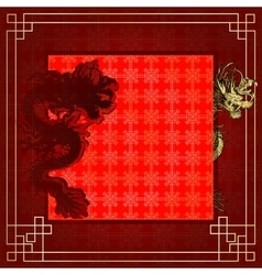 Frame red dragon gold-colored sticker 7 vector