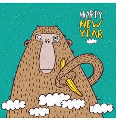 Happy new year monkey with banana vector