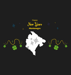 Happy new year theme with map of montenegro vector