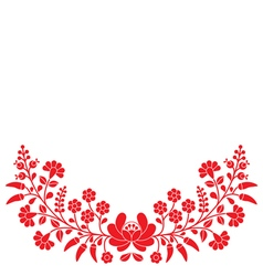 Hungarian red floral folk pattern - kalocsai vector
