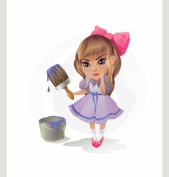 Little Girl with Paintbrush vector image vector image