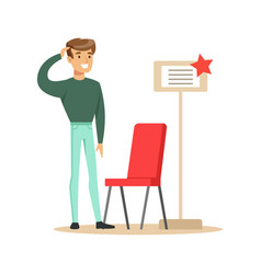 Man buying a red chair smiling shopper in vector