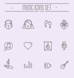 Music festival thin line icons set vector