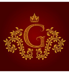 Patterned golden letter g monogram in vintage vector