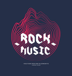rock music poster of the sound wave vector image vector image