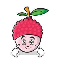 Sad face lychee cartoon character style vector
