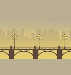 Scenery of bridge with town background vector