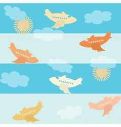 Seamless airplane pattern vector image