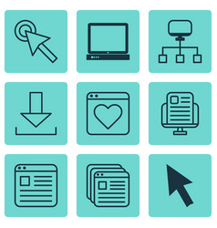 set of 9 web icons includes local connection vector image vector image