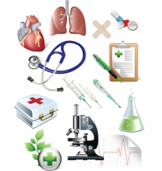 set of medicine objects vector image