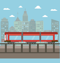 Train transport city night vector