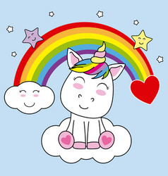 Unicorn sitting on a cloud and with rainbow vector