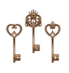 vintage heart shaped bronze antique skeleton keys vector image vector image