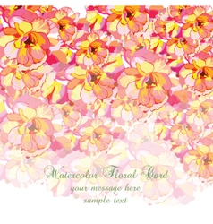 Watercolor Colorful Summer flowers card vector image
