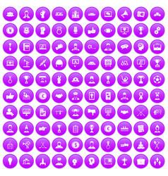 100 leadership icons set purple vector