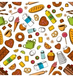 Daily breakfast meal seamless background vector