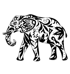 High quality indian elephant drawn with ornament vector