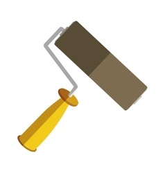 yellow paint roller icon tool vector image