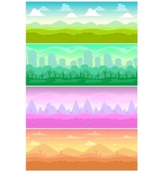 Colorful seamless landscapes set vector