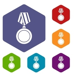 Winning medal icons set vector