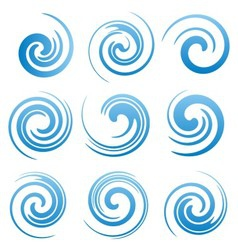 Set of water swirls and abstract waves vector image