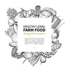 vegetable hand drawn vintage frame vector image