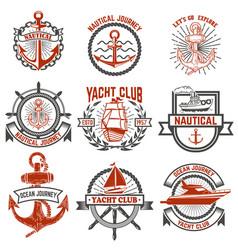 Set of yacht club labels nautical design elements vector