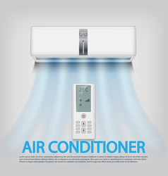 realistic air conditioner with remote control vector image