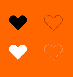 Heart black and white set icon vector