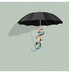 Black umbrella with colorful ribbon vector