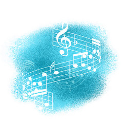 Music notes on watercolour background vector