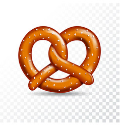 Realistic tasty pretzel on the white transparent vector