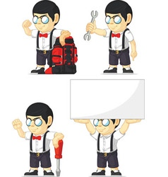 Nerd boy customizable mascot 6 vector