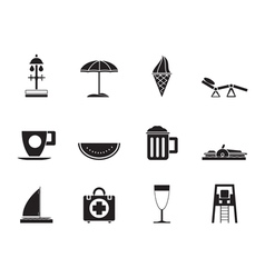 Silhouette beach and holiday icons vector