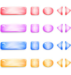 Shiny glass buttons of different shapes for games vector