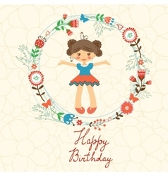 Cute happy birthday card with happy girl in floral vector