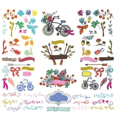 Doodle floral grouphand sketch rustic colored vector