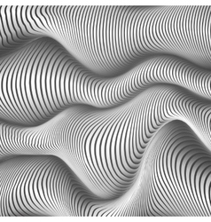 Black and white wavy stripes abstract background vector