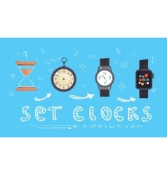 Types of alarms clocks timers and watches set vector
