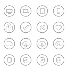 Gray line web icon set with circle frame vector
