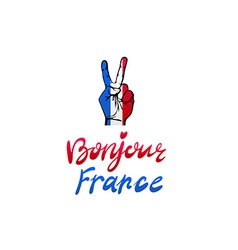 Hand victory for france bonjour vector