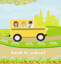 a school bus heading to school with happy childr vector image vector image
