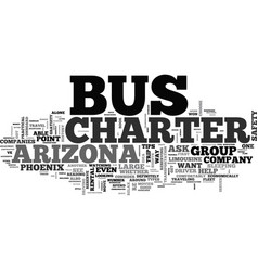 Arizona charter bus rental tips text word cloud vector