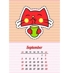 Calendar 2017 with cats september in cartoon 80s vector