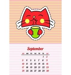 Calendar 2017 with cats september in cartoon 80s vector