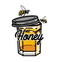 color vintage honey emblem vector image vector image