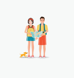 Couple travelers carring map with dog isolated on vector