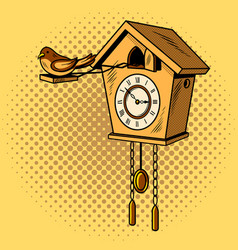 Cuckoo clock comic book style vector
